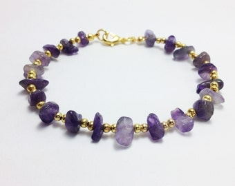 Amethyst anklet Amethyst gravel with gold brass beads Woman anklet