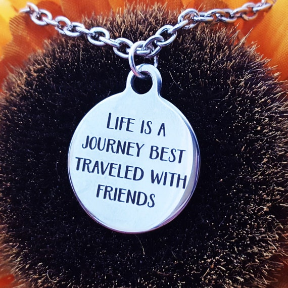 Life is a Journey Charm Necklace, Friendship Jewelry, Inspirational Quotes Necklace, Bicycle Runner Charms, CrossFit Gifts,Best Friends Gift
