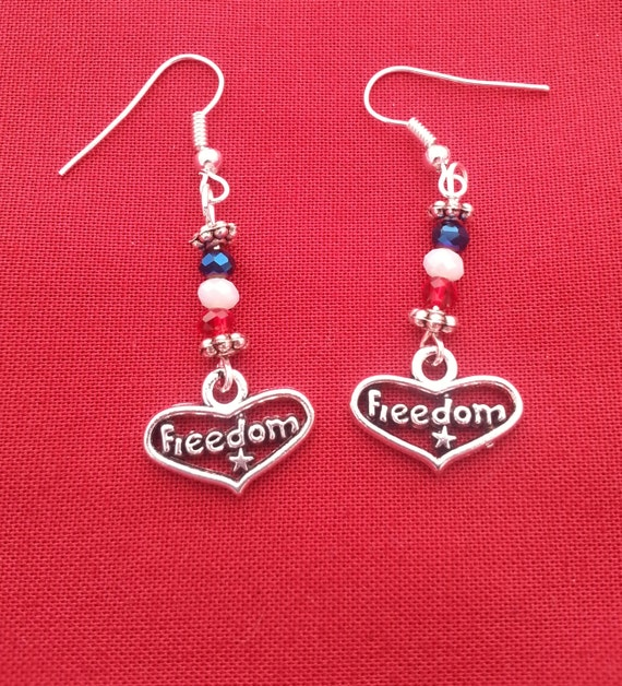 Patriotic Earrings, Military Wife Mother Jewelry, Red White Blue Earrings, USA Freedom Charms, Heart Love Country Gifts, USA Military Charms