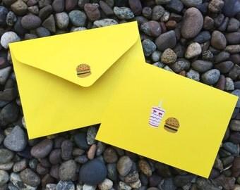 Cheeseburger - Hand Painted Greeting Card