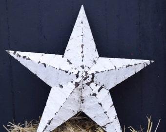 White shabby industrial Amish barn star