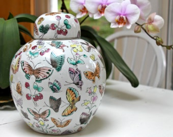 Chinese Butterfly Ginger Jar