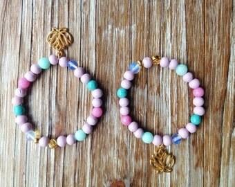 Lotus bracelet with Moonstone, rhodonite, turquoise, Amazonite