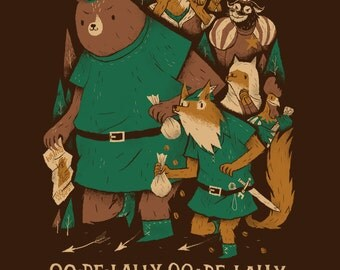 oo de lally Robin hood T-shirt / robin hood lilttle john cute animals shirt / oo de lally oo de lally golly what a day tee