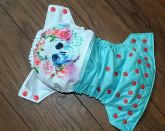 Layer washable skull floral turquoise