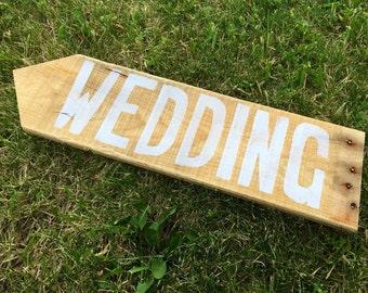 Rustic Wood Wedding Directional Sign, Wedding Sign, Wood Wedding Sign