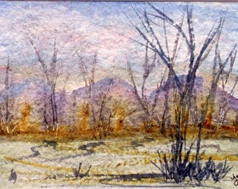 Abstract Barren Landscape Original Watercolor Painting, Watercolor Landscape, Original Watercolor, Abstract Watercolor Art, Abstract Art