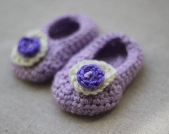 Girl's Crocheted Baby Slippers with Flower Custom Colors