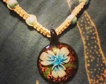 Blue Flower Hemp Necklace