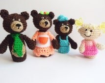 Goldilocks and the three bears Finger Puppets crochet puppets crochet finger theater amigurumi theater Waldorf toy girl baby shower gift