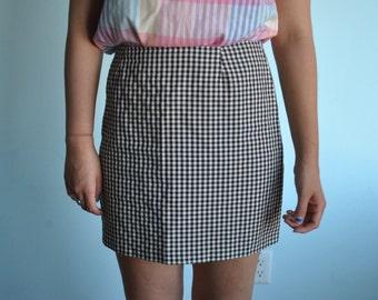 Vintage sz L 11 brown gingham pencil skirt