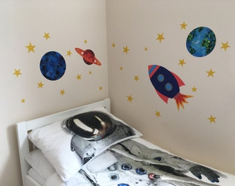 Space Wall Stickers, Space Decals, Planets and Stars Decals, Planets and Stars Wall Stickers, Rocket, Planet, Stars decor, Space Theme Room
