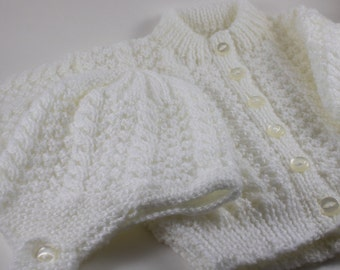 White Knit baby cardigan with hat, 0 to 3 months - White baby sweater