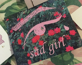 sad girl tear drop sticker