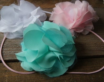 Turquoise chiffon flower, Made to Match Matilda Jane Happy and Free
