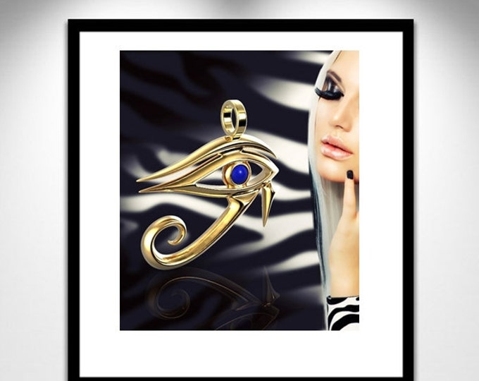 Featured listing image: Horus Sculpture Eye 18 K jewelry _ eye Horus gold 18K _ Sculpture jewelry