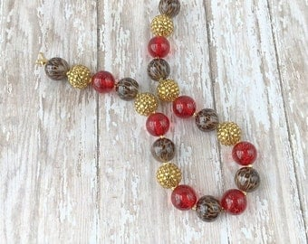 Bubble Gum Necklace - Chunky Necklace - Leopard Print Necklace - Red and Gold Necklace - Big Bead Necklace - Girls Necklace - Kids Jewelry