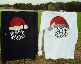 Personalized Santa Hat Long Sleeve Tee, Santa Hat Shirt, Infant, Toddler, Youth, and Adult Sizes!