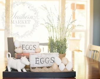 Eggs wood block, handmade sign