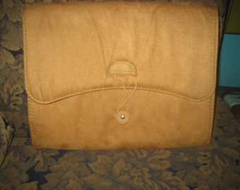 Tan Suede Accordion File with 12 Pockets