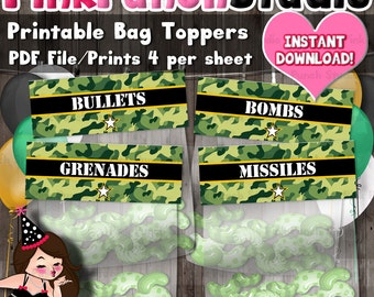 Printable Army Soldier Military Camo Party Favor Treat Bag Toppers INSTANT DOWNLOAD PDF File