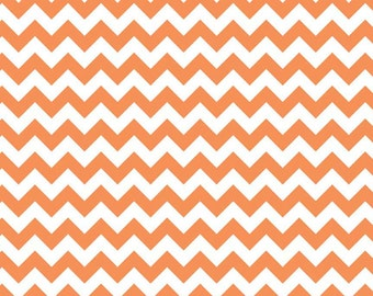 Orange Chevron Fabric C340 60 - Orange Cotton Fabric by Riley Blake Baics - Printed Fabric Small Chevron - Quilting Cotton - Cotton Chevron