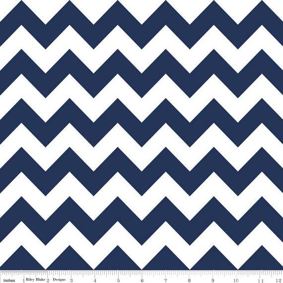 Navy Blue Fabric - Medium Chevron Fabric - Riley Blake Basics ...
