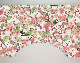 Waverly In the Air Blossom Custom Valance Curtain, Pink Green Bird Foliage, Lined