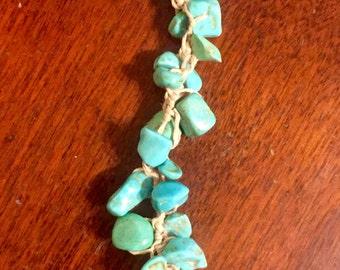 Turquoise and hemp bracelet