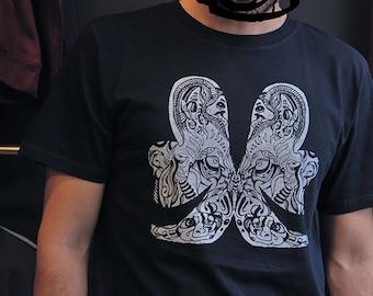 """Mens t-shirt 100% organic cotton earth positive fair wear hand silkscreen printed """"butterfly"""""""