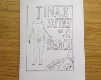 Tina & Britney Go to the Beach, 16-page comic zine illustration drawing handmade DIY