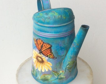 Hand painted Metal watering can, butterfly, mixed media, custom, personalized, watering jug, Mothers Day gift, wedding, garden lover gift,