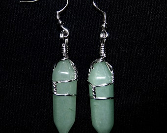 Aventurine Earrings, Dangle Earrings, Aventurine Gemstone, Gifts for Women, Fashion Earrings, Aventurine, Twisted Wire, Green Earrings,Stone