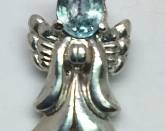14k Blue Zircon Angel Pendant