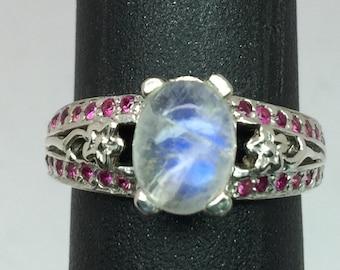 14k Moonstone & Ruby Ring, FREE SIZING