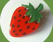 Strawberry Brooch, Vintage Inspired, Novelty brooch, Rockabilly, Pinup, Fruit, Tiki, Jewelry, Acrylic, Resin, Plastic, Laser Cut, Pin