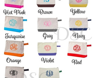 Personalized Cosmetic Bags. Monogrammed Makeup Bags. Cosmetic Bags. Monogrammed Mother's Day Gifts. Monogrammed Bridesmaid Gifts