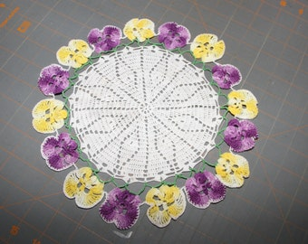 """Vintage Crocheted Doily With Pansies Perfect for a Dollhouse Tablecloth or Rug  10"""" in Diameter"""