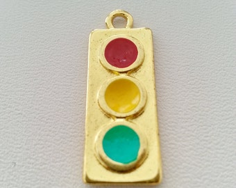 10 pcs. TRAFFIC LIGHTS charm pendants gold tone 10x25 mm.,accessories,earring,bracelet,jewelry finding,decoration jewelry and leather making