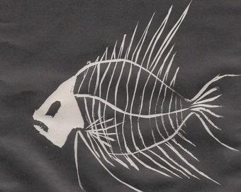 Graphic Linocut Skeleton, Bone Fish, Relief Print, Digital Copy