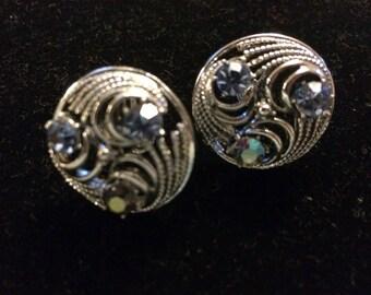 Vintage Style Screw Back Crystal Earrings