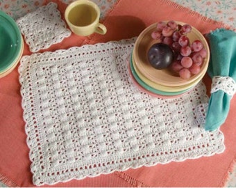 Crochet placemat pattern placemats coasters  Instant Download