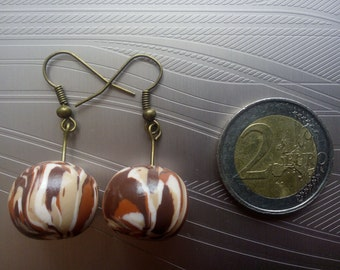 Earrings balls Camouflages chestnuts