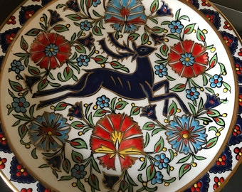 Seva Handpainted Plate with 24k gold. Gold plate. Deer plate