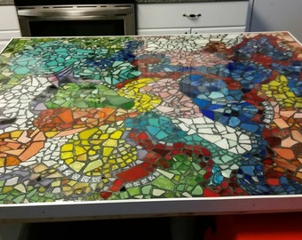 Mosaic tabletop. Custom mosaic kitchen island countertop 3.5×4 listed. For pricing on other dimensions please email us!