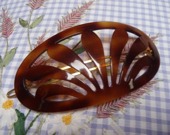 Vintage French Hair Barrette 1970s  Large Faux Tortoise Shell Classic Pierced Design 9.5cm (3 3/4 inch)