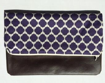 Purple with Chocolate Brown Vegan Leather