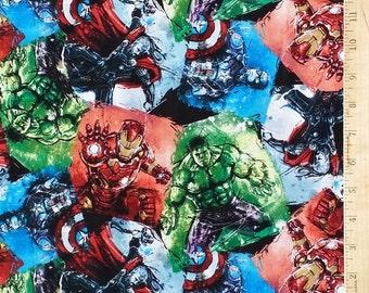 Super Hero Fabric, Marvel Comics Fabric, Avengers Fabric, Hulk, Wolverine, Ironman, Captain America Fabric by the Yard