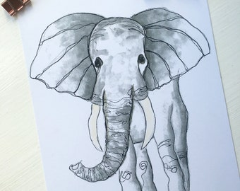 Elephant Watercolour print