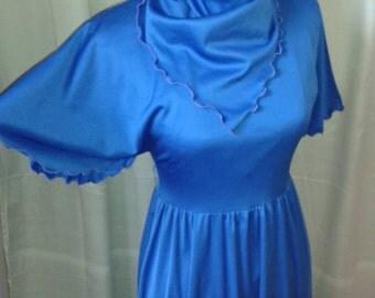 1970s Blue hanker chief  party dress. Size UK 8